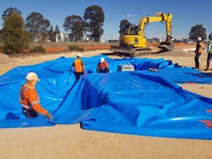 Installation of dam liner 1